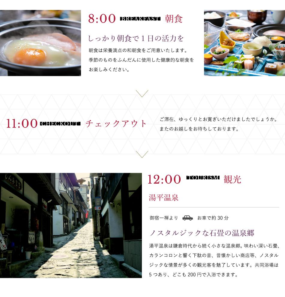8:00朝食11:00チェックアウト12:00観光